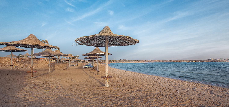 Beach umbrellas and the sea