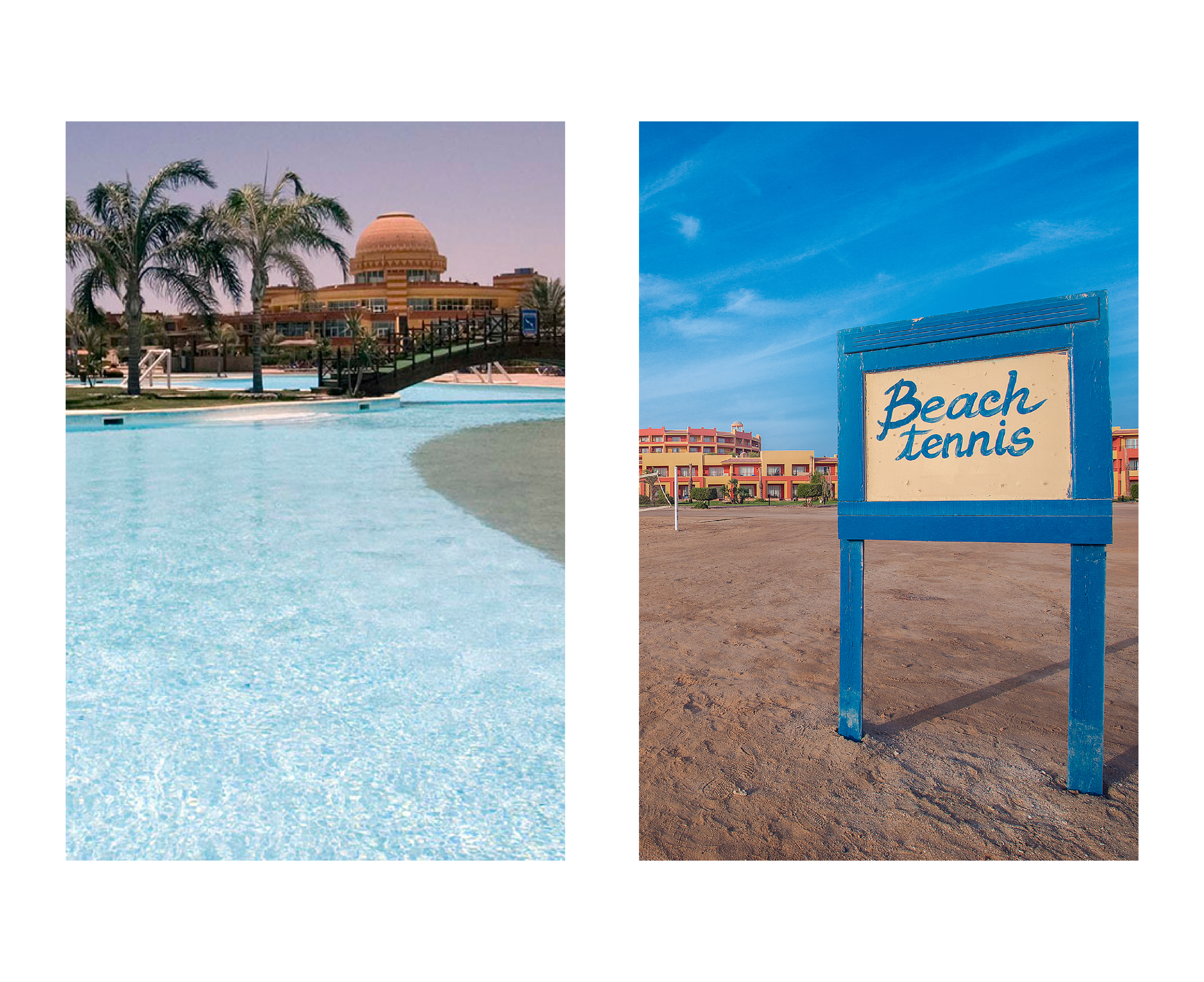 Swimming pool and a sign on the beach