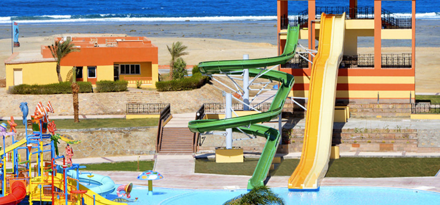 Water slides leading to the swimming pool