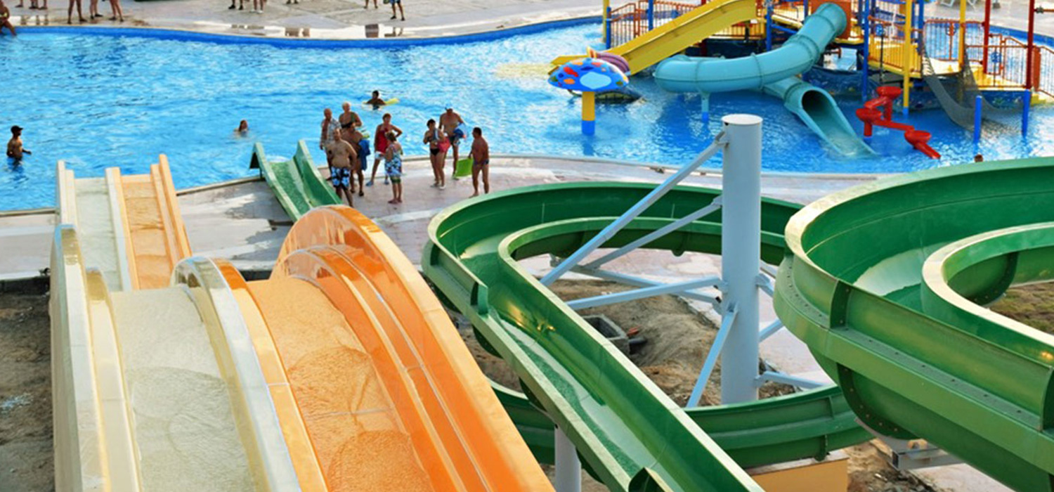 Water slides in the swimming pool