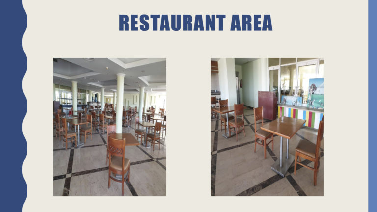Restaurant area with tables spaced apart